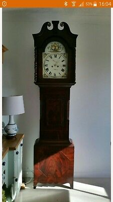 Beautiful Antique Flame Mahogany 8 Day Striking Longcase Grandfather Clock c1770