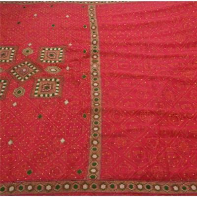 Sanskriti Antique Vintage Saree Pure Silk Hand Beaded Pink Fabric Premium Sari