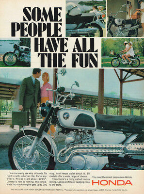 "1966 Honda Cb160 Motorcycle ""nicest People"" Vintage Original Laminated Ad Art"