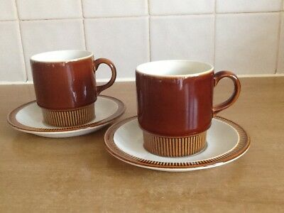 Poole Pottery Chestnut - 2 X Cups and Saucers
