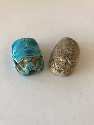 Egyptian Carved Scarab Bead w/ Hieroglyphics Collection Lot of 2 Beads #2
