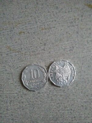 WORLD FOREIGN COINS * CHILE * 10 centavos 1979 * 12- sided * CONDOR * Lot F3 *