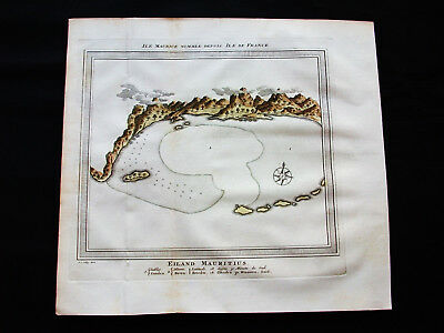 1754 BELLIN -Orig. map of AFRICA, ASIA, MAURITIUS ISLAND, MADAGASCAR, PORT LOUIS
