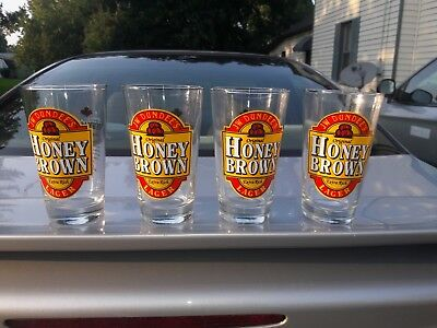 Set of 4 JW Dundee Honey Brown Lager Pint Glasses BREWMASTERS PREMIUM STOCK Mint