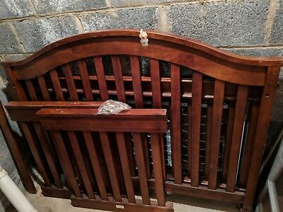 """USED BABY BED 56"""" Long x 27"""" Wide - GREAT SHAPE SOLID WOOD - ALL HARDWARE"""