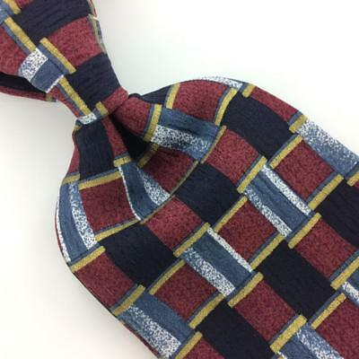 COCKTAIL COLLECTION USA TIE MAROON Blue GEOMETRIC Silk Necktie Ties I11-476 New