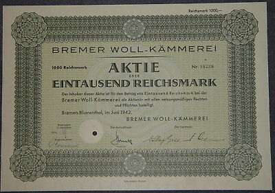 Bremer Woll-Kämmerei 1942 1000 RM