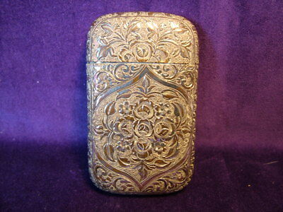 Antique silver plated card case late Victorian art nouveau