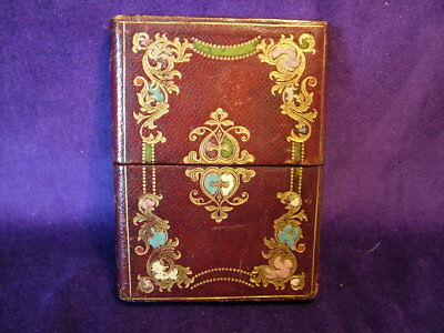 Vintage  antique tooled and gilt leather calling card case Victorian art nouveau