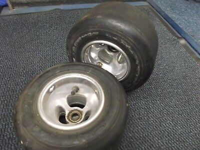 go kart classic100cc pair of very clean ali front 3 spoke130mm wheels and tyres