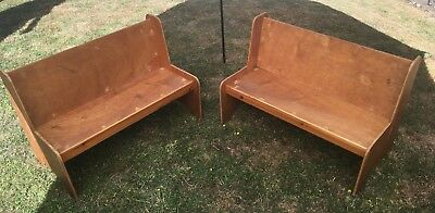 2 x Vintage Sturdy Children's Wooden Pews / Benches