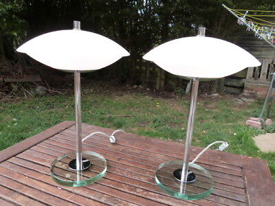 Stunning Quality Heavy Pair Of Modern Retro Glass & Chrome Table Lamps.