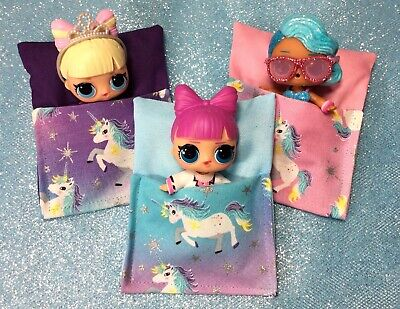 🦄  UNICORNS 🦄 Sleeping Bag Beds for LOL DOLLs Bedding 3 Pc Set accessories NEW