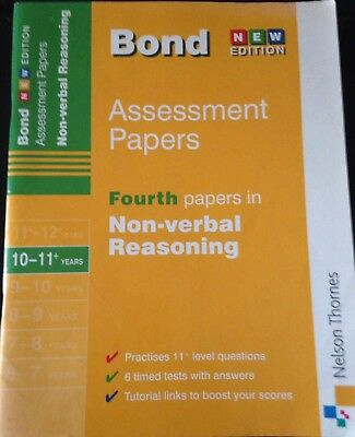 Bond Assessment Papers in Non-Verbal Reasoning Age 10-11+ V Good used condtion.
