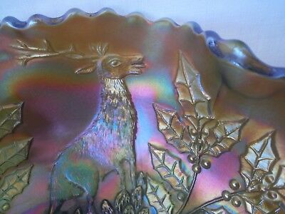Vintage American Fenton Green Iridescent Carnival Glass Bowl Stag/holly Vgc