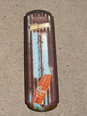 Rare Antique American Hires Root Beer Metal Thermometer Soda Bottle Sign Patina