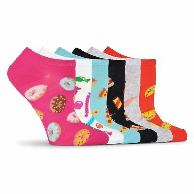 K.Bell Bright Colored assorted Donuts No Show Set of 6 Pack Ladies Socks New