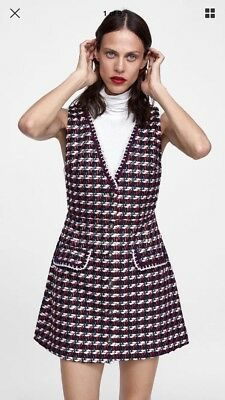 Zara Bnwt Navy Red Tweed Pinafore Textured Dress With Trims Size Xs Sold Out