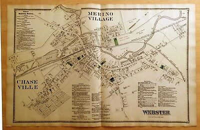 Original 1870 Map MERINO Chaseville WEBSTER, MA Massachusetts 2-Page BEERS