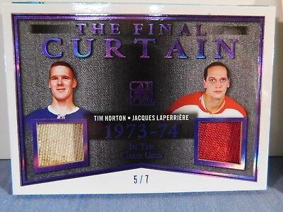 TIM HORTON JACQUES LAPERRIERE 2017-18 ITG DUEL PATCH #5/7 game used MATERIAL