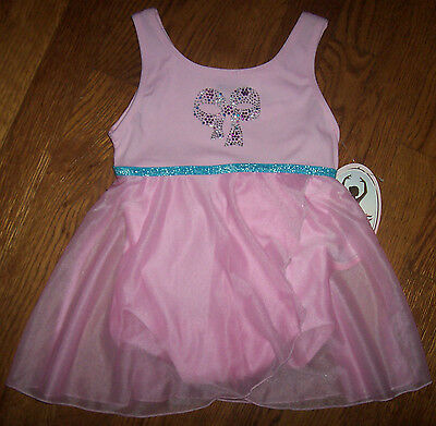 NWT Moret Pink Babydoll Skirted Leotard XS 4/5 Girl SPARKLY STUD BOW Silver/Blue