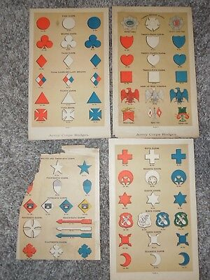 1800's Civil War Lithograph Papers US Army Corps Badges Insignia Plates