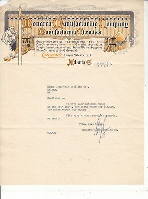 Monarch Manufacturing Co.LETTERHEAD Chemists SOLD SODA WATER  MARCH  19, 1912