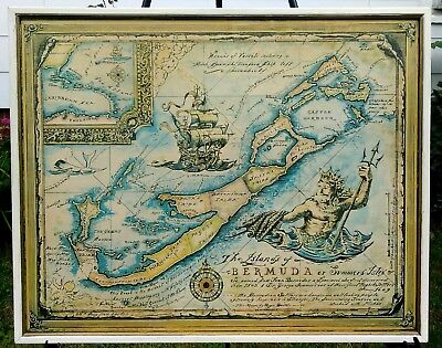 The Islands Of Bermuda Teffific Framed Vintage Pirates Map Print King Neptune