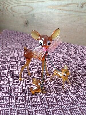 3 x VINTAGE CHRISTMAS  MERCURY GLASS AMBER REINDEERS DEER Christmas decor