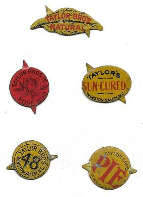 Vintage Taylor Bros Tobacco Tags...Rose Bud, Pie, 48, Sun Cured, Natural