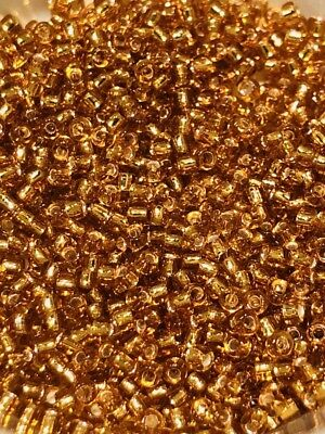 Vintage Golden Silver Lined Brilliant Gold Glass 10//0 Seed Beads THREEMini Hanks