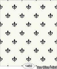 Dollhouse Wallpaper 1:12 Scale - Princess - Fleur De Lis Black On Ivory - 1460
