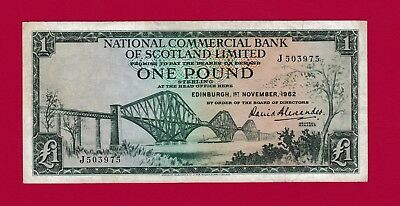 SCARCE One Pound 1962 National Commercial Bank of Scotland Limited Banknote