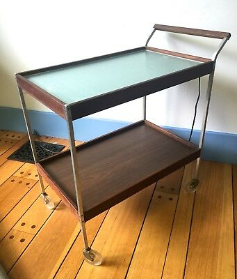 Mid Century Modern Teak TEA CART w Heating Pad by Salton