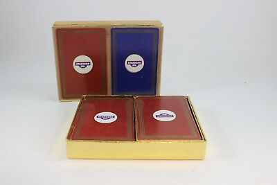 Two Decks Of Vintage Standard Oil Company Playing Cards In Case