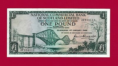 RARE One Pound Sterling 1966 - National Commercial Bank of Scotland Limited - XF