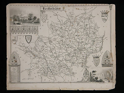 Original Vtg Antique Hertfordshire Map circa 1840s by Moule 19th C. Engraving