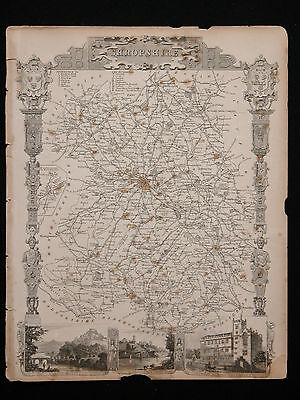 Original Vtg Antique SHORPSHIRE Map circa 1840s by Moule 19th C. Engraving