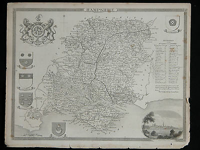 Original Vtg Antique HAMPSHIRE Map circa 1840s by Moule 19th C. Engraving