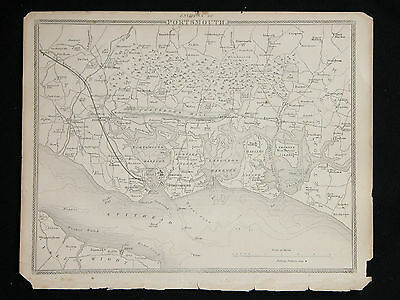Original Vtg Antique PORTSMOUTH Map circa 1840s by Moule 19th C. Engraving