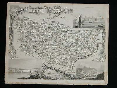 Original Vtg Antique KENT Map circa 1840s by Moule 19th C. Engraving