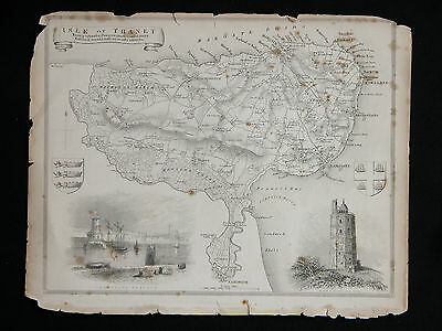 Original Vtg Antique ISLE OF THANET Map circa 1840s by Moule 19th C. Engraving