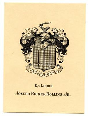 Early 1900s Engraved Bookplate Ex Libris Joseph Ricker Rollins Jr