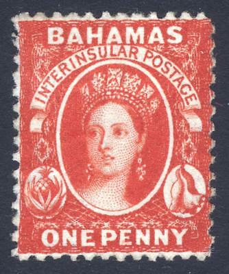Bahamas 1863 1d Rose Red Wmk CC Perf 12.5 SG 23 Scott 11c MM/MH Cat £70($92)
