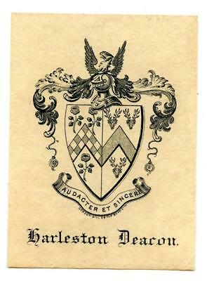 Early 1900s Engraved Bookplate Ex Libris Garleston Deacon Crest Gordon Gill