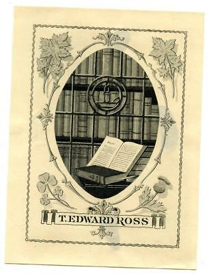 Early 1900s Engraved Bookplate Ex Libris T Edward Ross Bookshelves