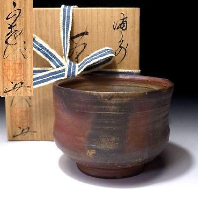 RL3: Vintage Japanese Pottery Tea bowl of Bizen ware with Signed wooden box