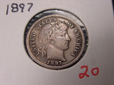 1897 Barber Dime Nice Higher Grade Early Date Free Shipping