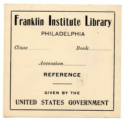 Early 1900s Engraved Bookplate Ex Libris Franklin Institute Library Philadelphia