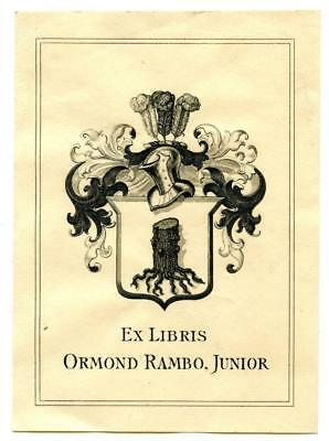 Early 1900s Engraved Bookplate Ex Libris Ormond Rambo Junior